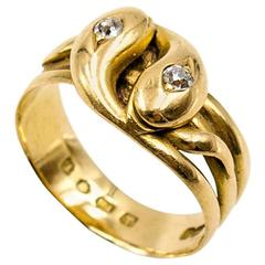 Elegant Victorian gold and diamond entwined snakes ring