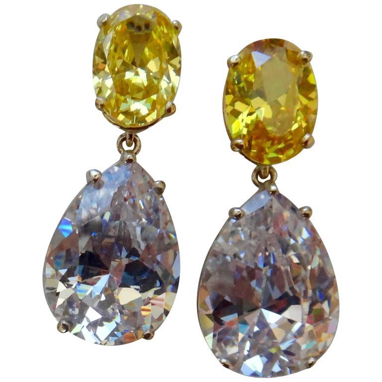 Michael Kneebone Golden Zircon Platinum Topaz Two-Color Gold Drop Earrings