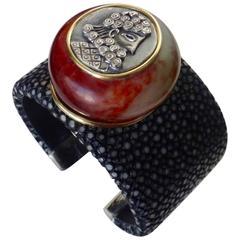 Michael Kneebone Jadeite Silver Amulet Black Stingray Cuff Bracelet