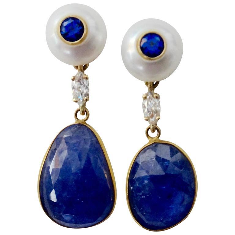 Michael Kneebone Tanzanite Button Pearl Blue Sapphire Diamond Drop Earrings