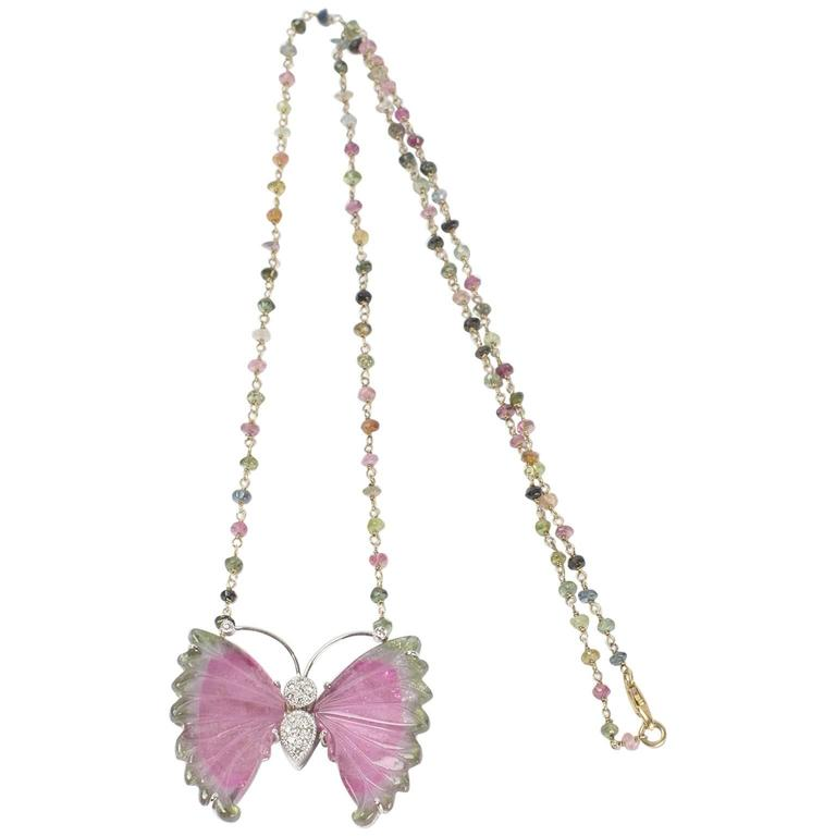 Beautiful Watermelon Tourmaline and Diamond Gold Butterfly Necklace 2