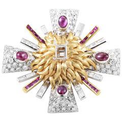 Erwin Pearl Precious Gemstone Gold Platinum Mounting Brooch