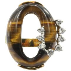 Tiger's Eye Diamond Gold Subtle Snake Ring