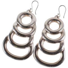 Sterling Silver Long Light Statement Earrings