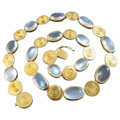 Käthe Ruckenbrod Modernist Moonstone Gold Necklace