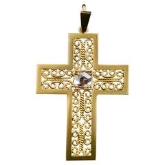 Stunning 0.50 Carat Rose Cut Diamond Filigree Gold Cross