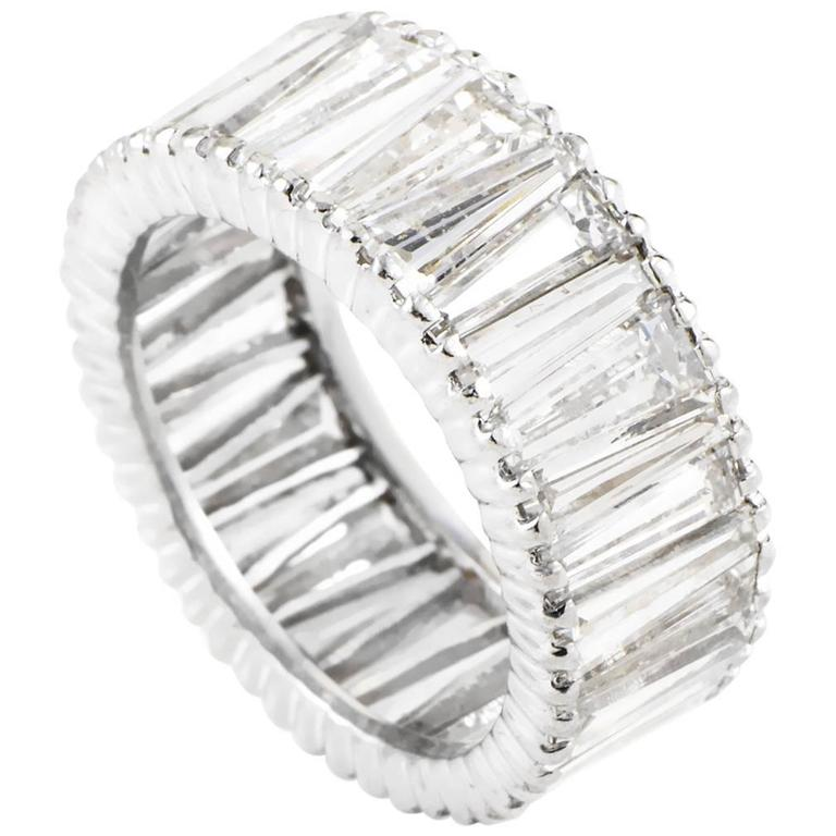 bar with baguette platinum ring diamond bands women band eternity setting a in half rings diamonds cut for