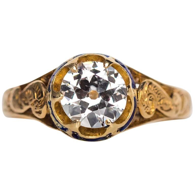 1870s Victorian .75 Carat Old European Diamond Enamel Gold Engagement Ring For Sale