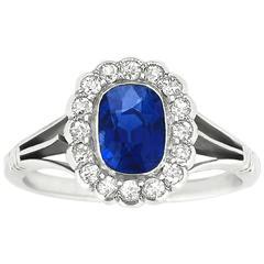 1.37 Carat Untreated Kashmir Sapphire Diamond Platinum Ring