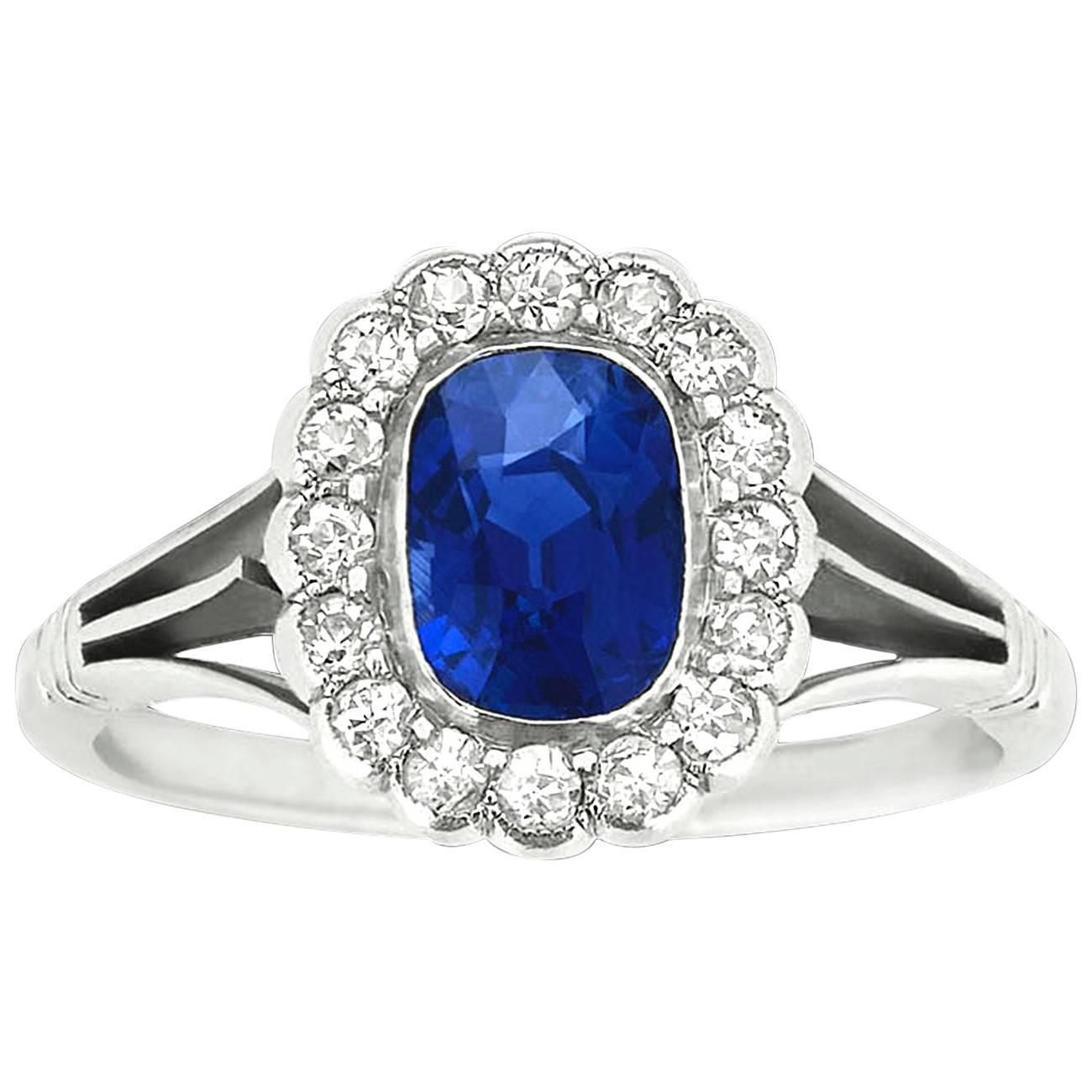 1.37 Carat Untreated Kashmir Sapphire Diamond Platinum ...