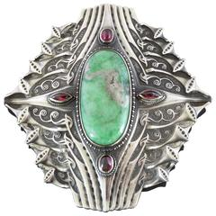 Antique Art Nouveau Green Hardstone Garnet Silver Buckle