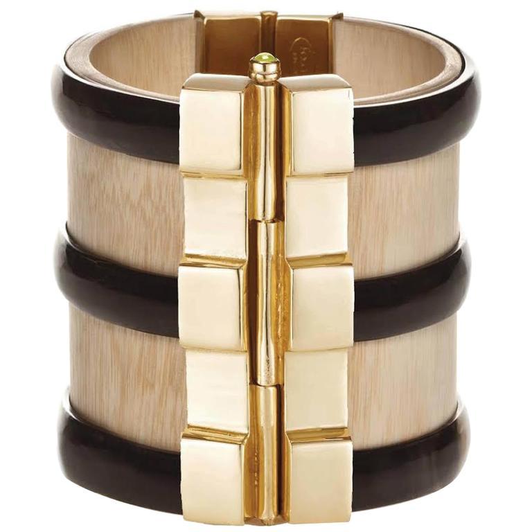 Fouche Horn Peridot Sapphire Wood Gold Cuff Bracelet For Sale
