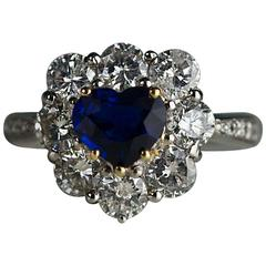 Heart Shaped No Heat Sapphire Diamond Platinum Ring
