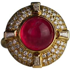 Pink Tourmaline Diamond Gold Ring