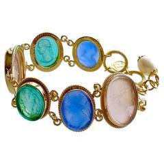 Venetian Glass Cameo Intaglio Bracelet