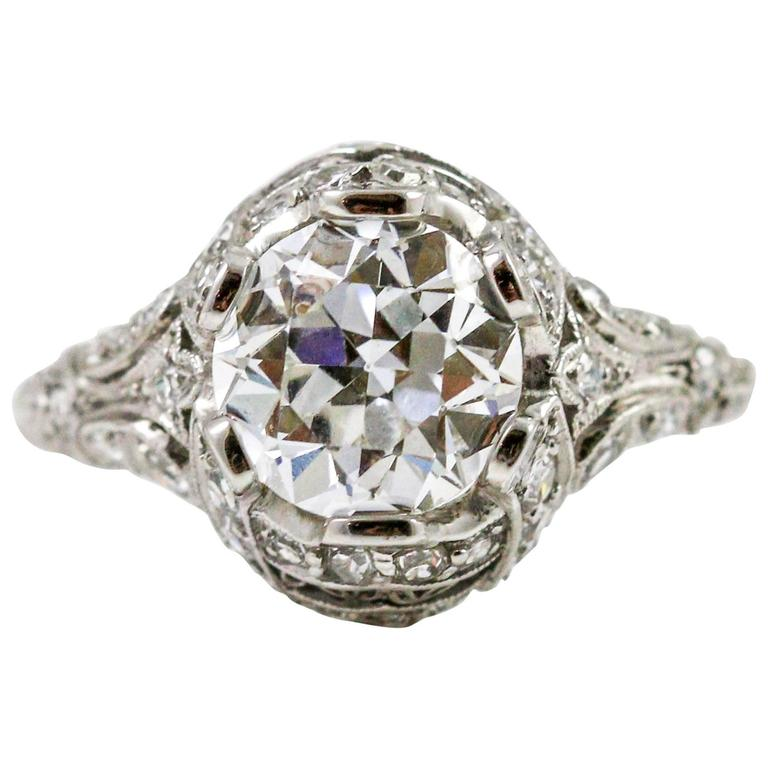 Edwardian GIA Cert 1.87 Carat Diamond Platinum Engagement Ring