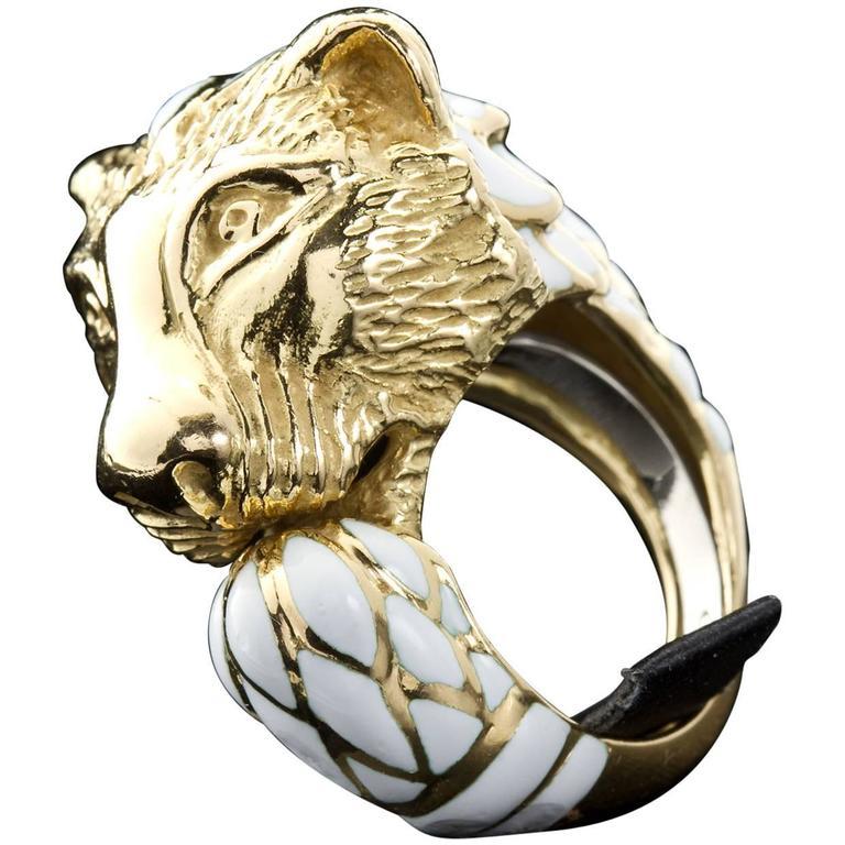 David Webb Enamel Gold Lion Ring For Sale