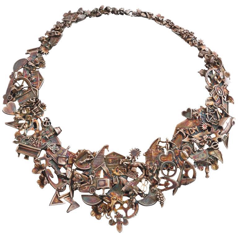 Ehinger-Schwarz Modernist Figural Patinated Silver Necklace