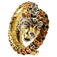 Enamel Diamond Gold Dragon Wrap Bracelet with Ruby Eye