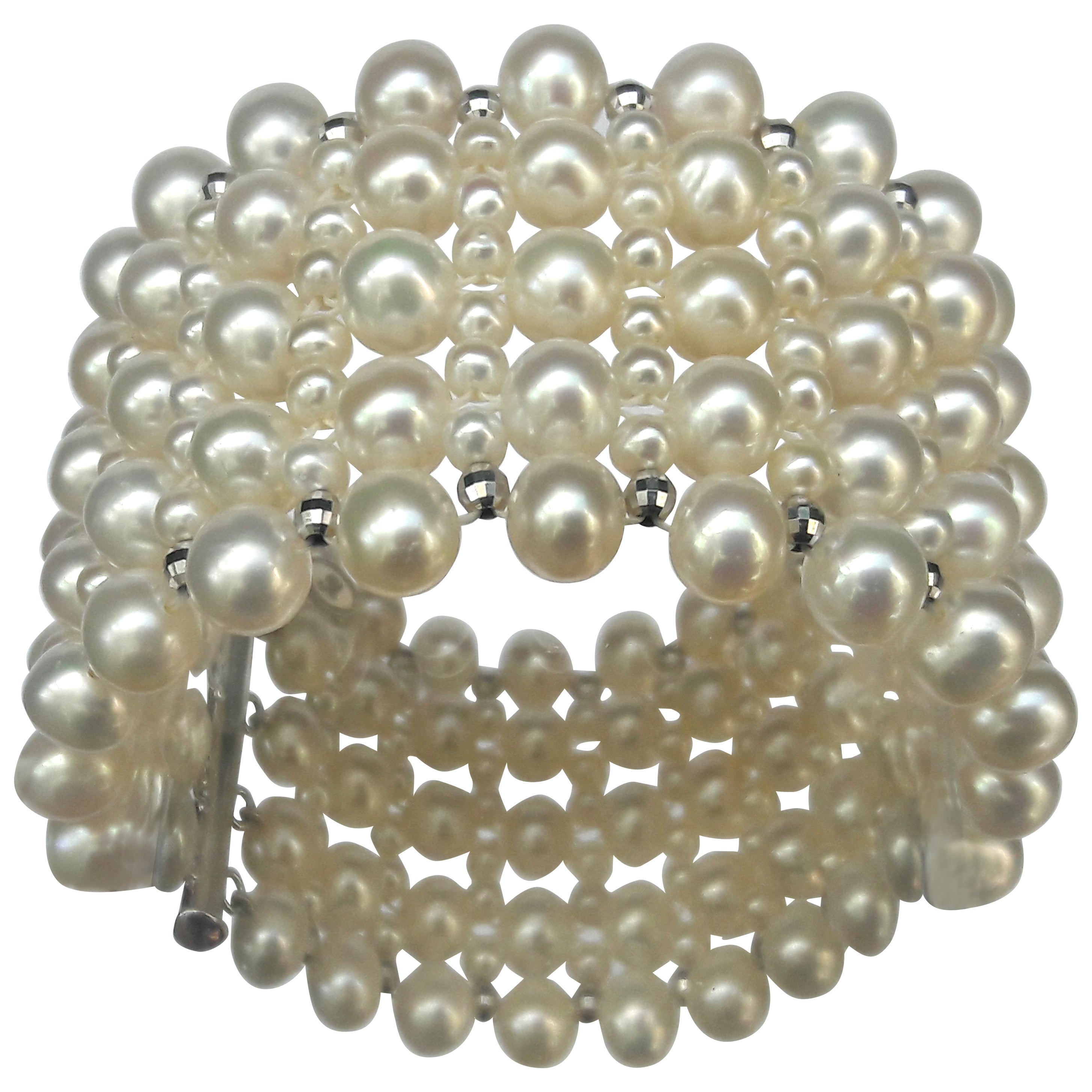 Marina J Multi Strand Intricately Woven Pearl Bracelet with Rhodium Silver Clasp