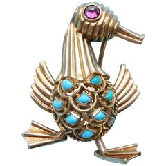 French Articulated Tourmaline Turquoise Gold Duck Brooch