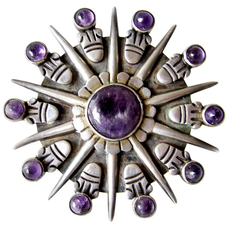William Spratling Mexican Modernist Amethyst Sterling Silver Sunburst Brooch For Sale