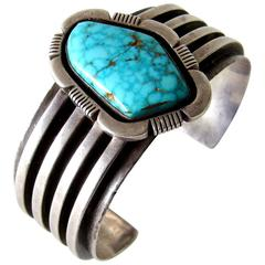 Turquoise Sterling Silver Navajo Cuff Bracelet