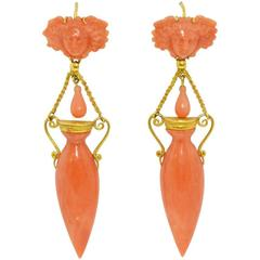 Carved Coral Gold Etruscan Revival Drop Earrings