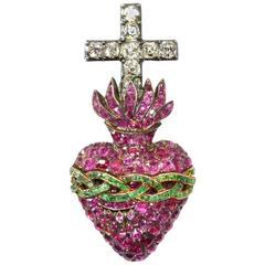 Sacred Heart Brooch and Matching Ring