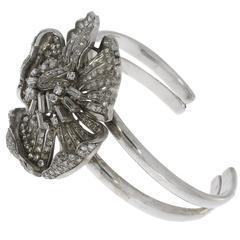 Art Deco Diamond Gold Platinum Flower Bangle Bracelet
