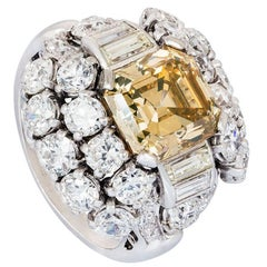 Yellow Brown Asscher Cut Diamond Platinum Cocktail Cluster Ring