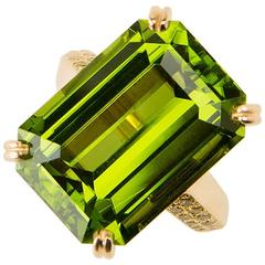 Oscar Heyman Peridot and Diamond Ring