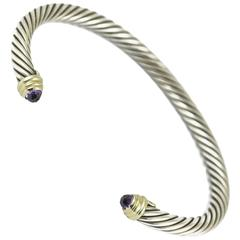David Yurman Silver Gold and Amethyst Twisted Rope Bangle