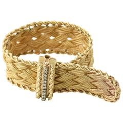 Mid 20th Century Braided Gold and Diamond Buckle Bracelet