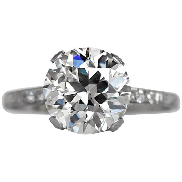 1910s Edwardian GIA certified 3.44 Carat Old European Diamond Platinum Ring