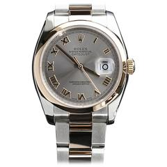 Rolex Rose Gold Stainless Steel Everose Datejust Slate Dial Wristwatch