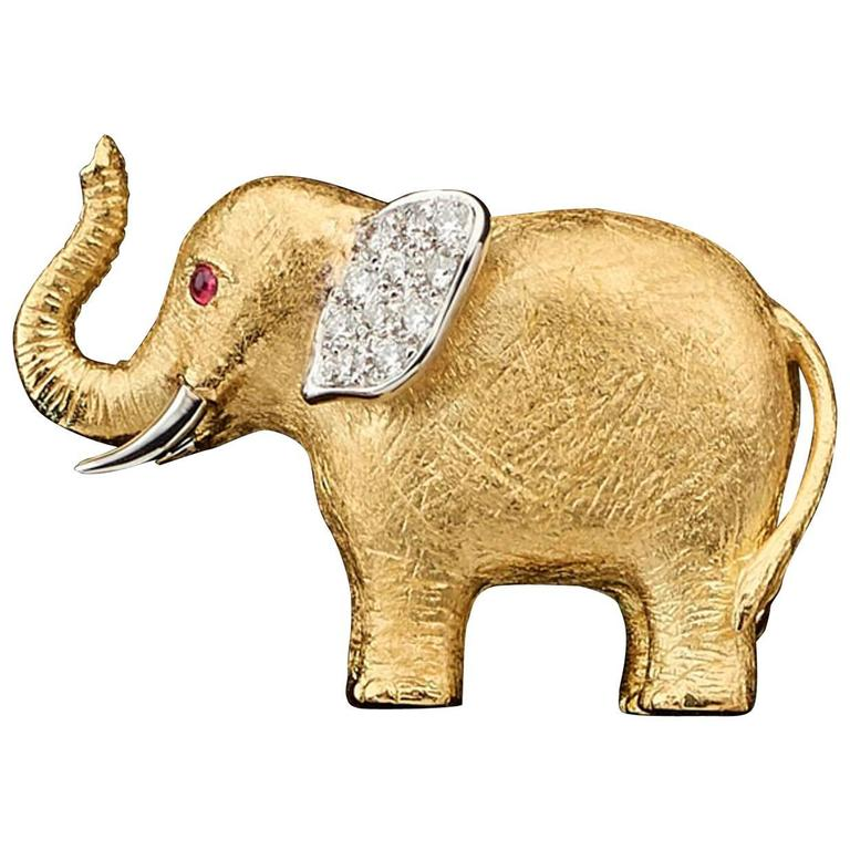 E. Wolfe and Co. Yellow And White Gold And Diamond Elephant Brooch ...