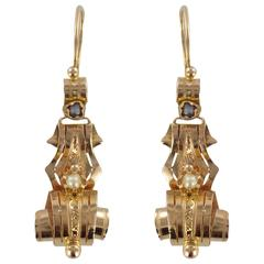 French Antique Fine Pearl Rose Gold Drop Earrings