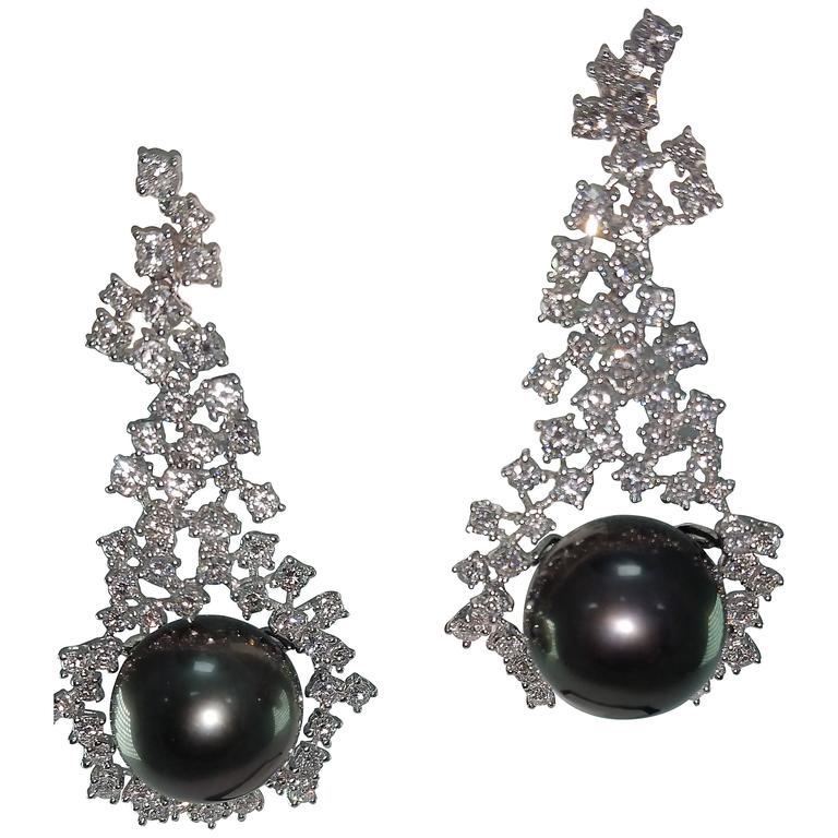 Tahitian Cultured Pearl Diamond Chandelier Earrings