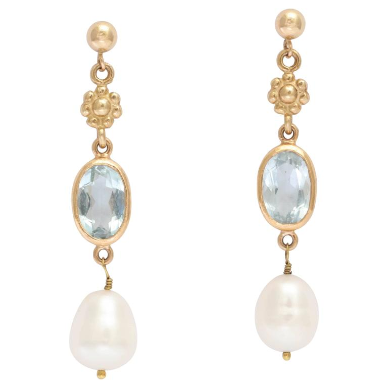 Pearl Aquamarine Gold Dangle Earrings