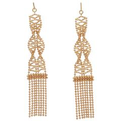 Delicate Two Color Gold Ball Chain Earrings.