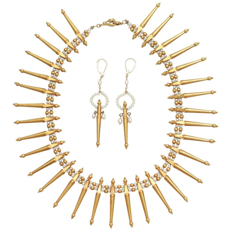 Classical Gold and Pearl Fringe Necklace and Earrings
