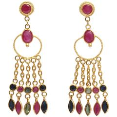 Elegant Ruby Sapphire Gold Earrings