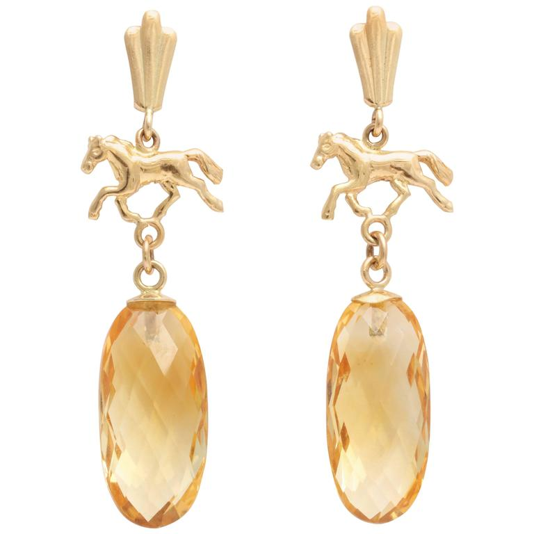 Charming Citrine and Gold Equestrian Earrings