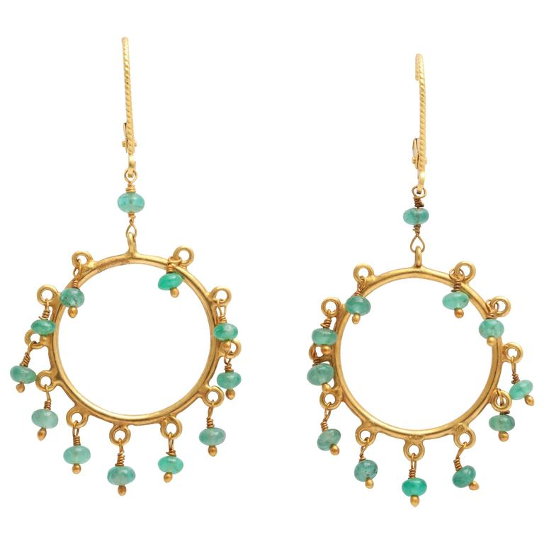 Elegant Emerald Gold Dangling Hoop Earrings