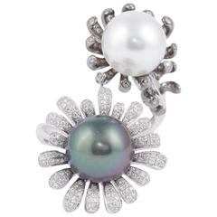 South Sea and Tahitian Pearl Double Diamond Gold Ring
