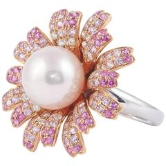 Fresh Water Pearl Pink Sapphire Gold Ring