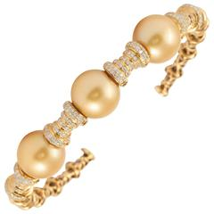 Golden South Sea Pearls Diamond Bangle Cuff Bracelet