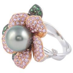Tahitian Cultured Pearl Diamond Gold Ring