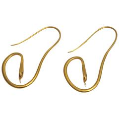 22 Karat Gold Snake Earrings with Sapphire Eyes